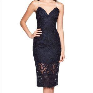Navy Blue Bardot Lacy Gia Bodycon Dress.